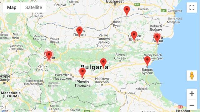 Карта на инвитро центровете в България